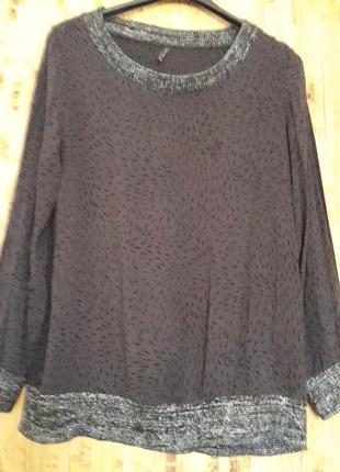Натуральная блуза вискоза с трикотажным серебристым горлом.