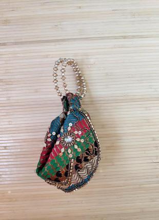 Индийская сумочка клатч с вышивкой3