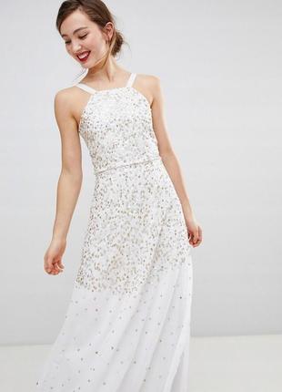 Frock and frill розкішна кремова сукня в паєтках