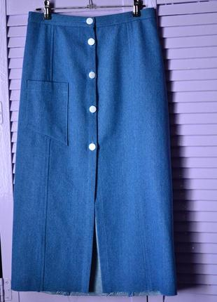 Классическая джинсовая юбка миди2