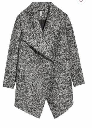 Темно-серое меланжевое пальто h&m