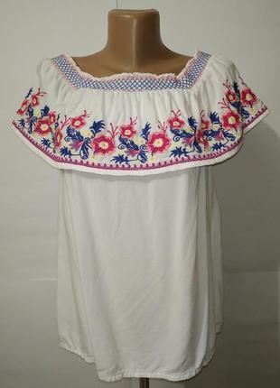 Вискозная белая блуза вышиванка tu uk 8/36/xs