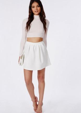 Трендовая белая короткая приталенная юбка спідниця от missguided размер m