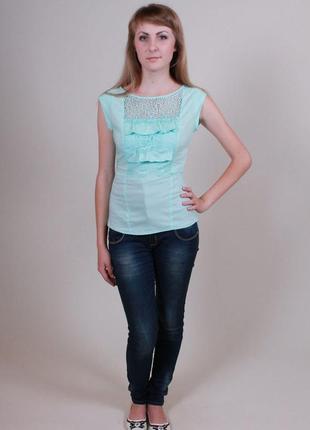 Блуза нарядная бирюзовая s.