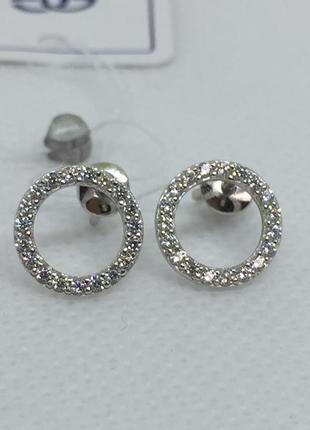 Новые родированые серебряные серьги гвоздики фианиты серебро 925 пробы