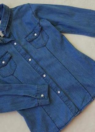 Джинсовая рубашка блузка here&there на 9-10 лет рост 134-140 см