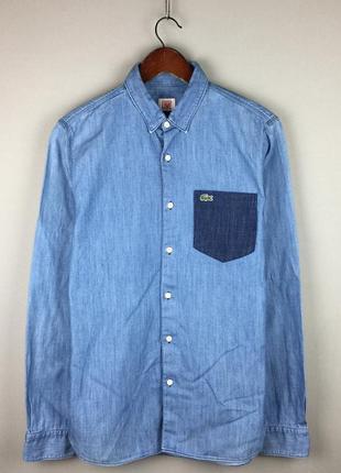 Синяя джинсовая рубашка lacoste live хлопковая мужская с значком крокодила аллигатора 🐊