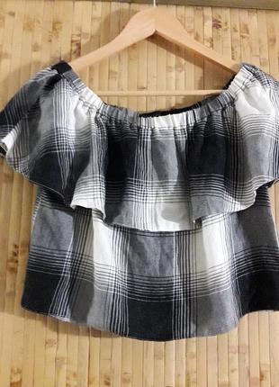 Натуральная блуза вискоза клетка спущенные плечи топ спущенные плечи topshop