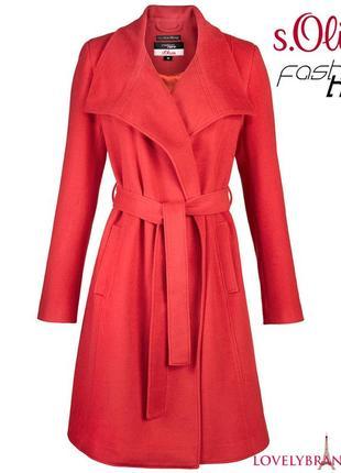 S.oliver 65% шерсть пальто халат на запах 170€ шерстяное классическое женское распродажа