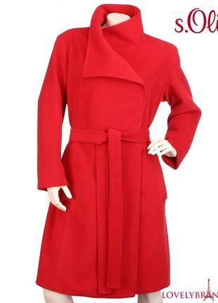 S.oliver 65% шерсть пальто халат на запах 170€ шерстяное классическое женское распродажа3 фото