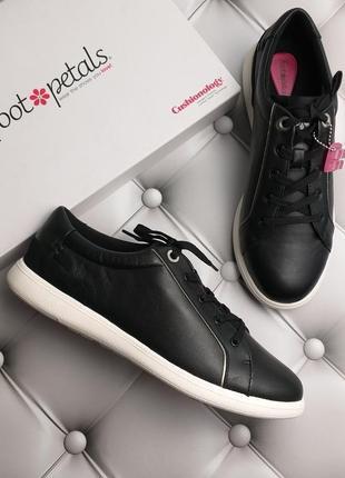 Foot petals оригинал черные кожаные кеды с суперудобной стелькой бренд из сша