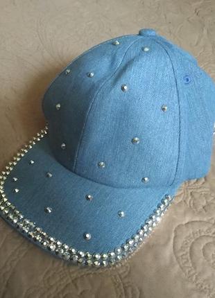 Новая бейсболка со стразами intrend by diffusione tessile кепка джинса max mara хлопок