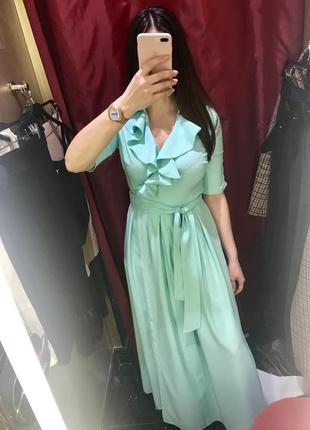 Платье длинное выпускное, вечернее, мята, мятного цвета