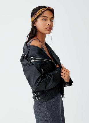 Натуральная кожаная байкерская куртка косуха pull&bear оригинал-распродажа!уценка!