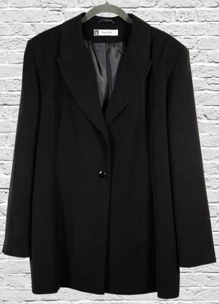 Черный длинный пиджак оверсайз, женский удлиненный пиджак свободный