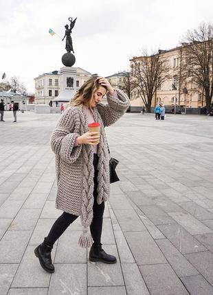 Вязаный кардиган. женский кардиган ручная работа. объемный кардиган. вязаное пальто
