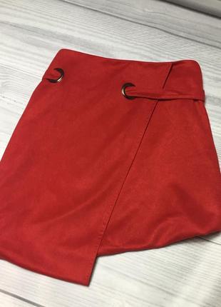 Красная юбка замшевая червона спідниця