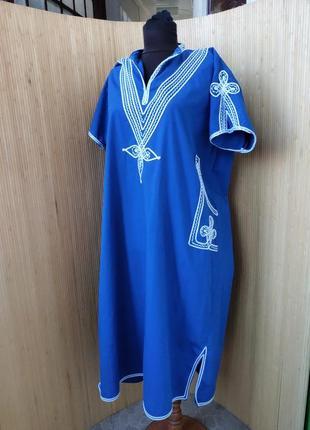 Платье туника хлопок с вышивкой