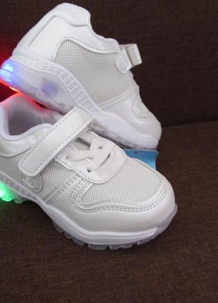 Белые кроссовки на девочку, на мальчика, светится подошва, сетка4 фото