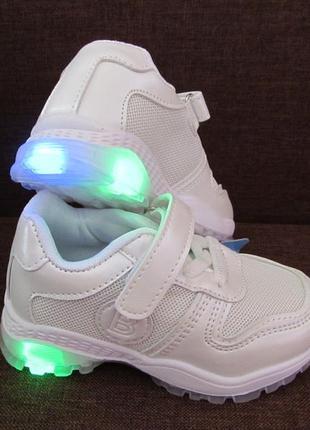Белые кроссовки на девочку, на мальчика, светится подошва, сетка3 фото