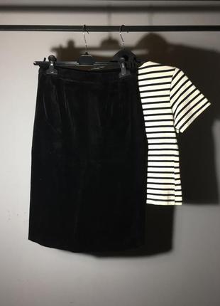 Миди юбка на талию ( высокая посадка ) из натурального чёрного бархата