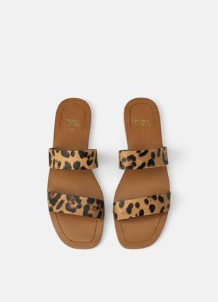 Кожаные мюли шлепки сандали zara оригинал animal print леопард натуральная кожа