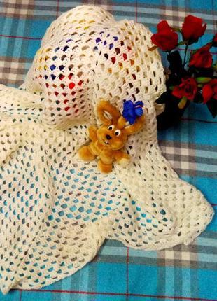 Потрясающий детский вязанный  пледик(в кроватку в коляску)