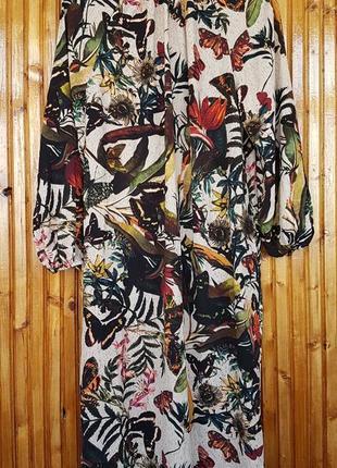 Стильное платье миди h&m в цветы и бабочки