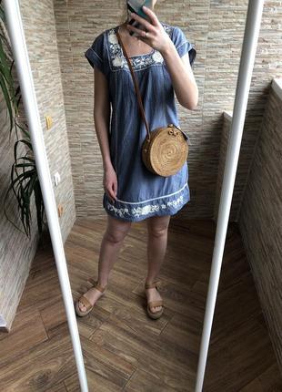 Хлопоковое летнее платье сарафан с вышивкой monson accessorize
