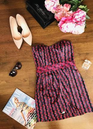 Оригинальное разноцветное платье с корсетом в цветочный принт