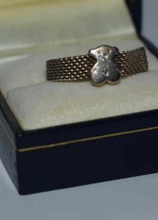 Красивое кольцо tous mesh серебро 925 проба вес 4,32 грамм оригинал