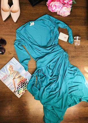 Нарядное новое бирюзовое миди-платье с поясом vanessa knox