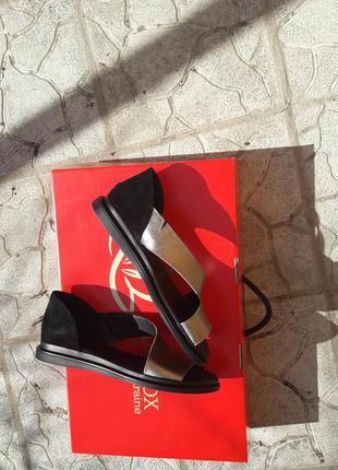 Скидка!!!туфли кожаные босоножки балетки подошва танкетка золото4 фото