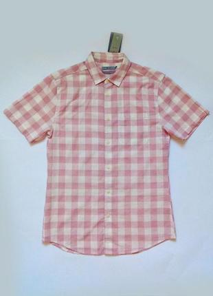 Рубашка розово-белая slim fit