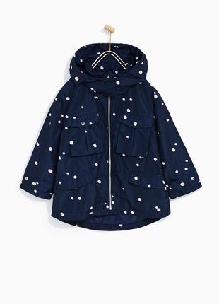 Куртка , ветровка , дождевик с капюшоном в принт zara