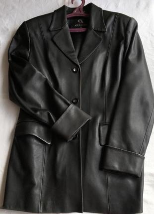 Винтажный кожаный чёрный плащ ретро пиджак натуральная кожа винтаж