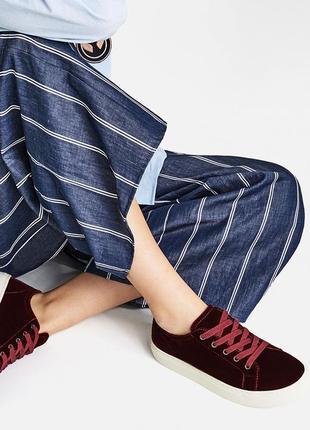 Бордовые велюровые кеды, кроссовки замшевые 24.5 см