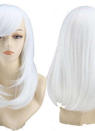 Парик белый 50см с косой челкой 5784