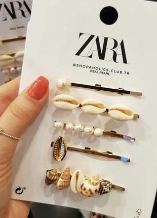 Комплект шпильок із мушлями та перлинами від бренду zara! оригінальні, з німеччини!