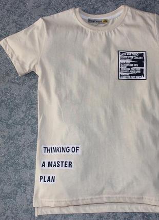 Хлопковая бежевая футболка с надписями, турция