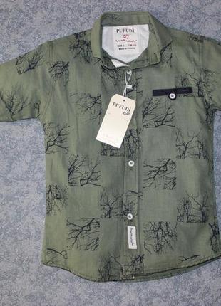 Хлопковая рубашка цвета хаки, с коротким рукавом, турция