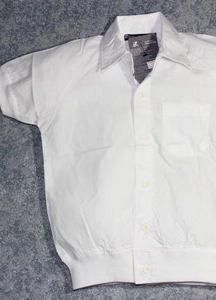 Уценка! хлопковая белая рубашка на манжете, с коротким рукавом, турция1 фото