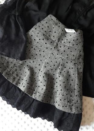 Сіра юпка на весну трапеція next в складі шерсть