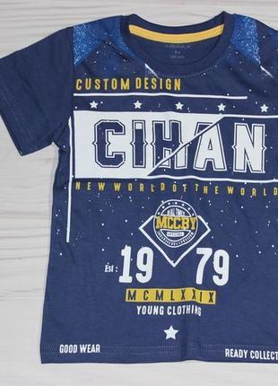 Хлопковая синяя футболка с надписями, турция