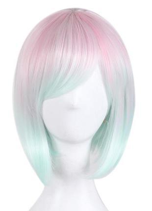 Парик каре двухцветный розовый бирюзовый с косой челкой 5525