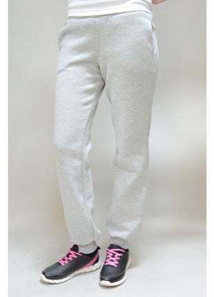 Трикотажные спортивные стрейчевые серый меланж  брюки с начесом zeeman.