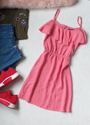 Нежное летнее платье с воланом рюшей с эффектом жатки от miss selfridge