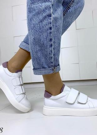 Кожаные белые кеды на липучках,белые кроссовки на липучках.3 фото