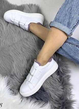 Кожаные белые кеды на липучках,белые кроссовки на липучках.4 фото
