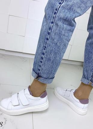 Кожаные белые кеды на липучках,белые кроссовки на липучках.5 фото